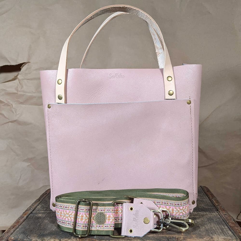 SoRetro FYG Leather Crossbody Tote - Pink Piglet with Gila River on Olive