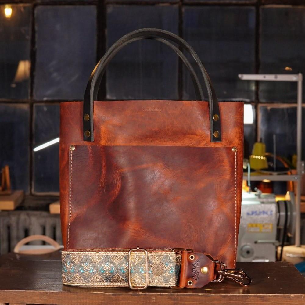 SoRetro Original FYG Leather Crossbody Tote – Red Rocks Sunset with Grosse Pointe Gypsy on Burnt Orange Webbing – Shiny Gold Hardware
