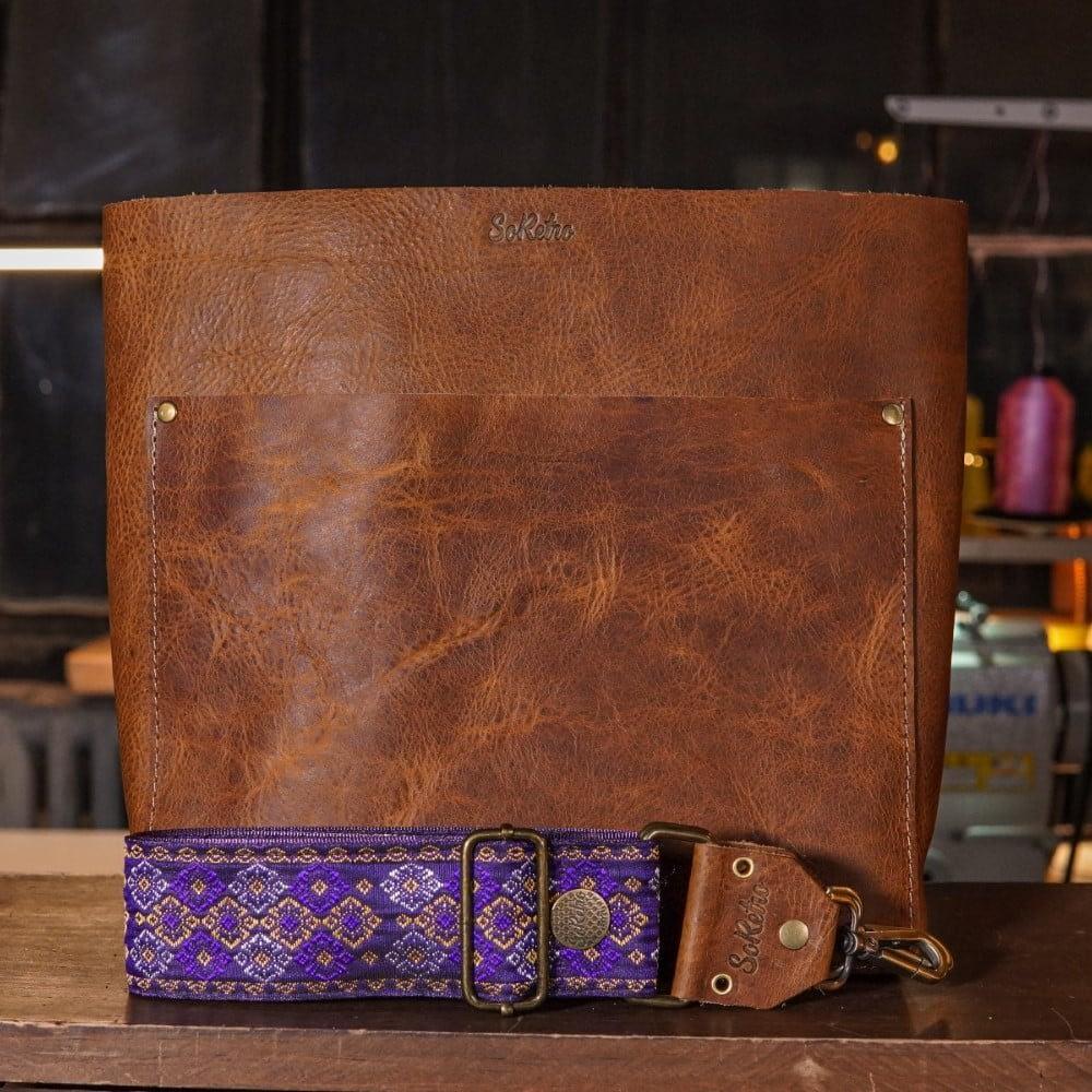 SoRetro Original FYG Leather Crossbody Tote – Cinnamon Queen with Rothbury Purple on Purple Webbing – Bronze Hardware - Handleless