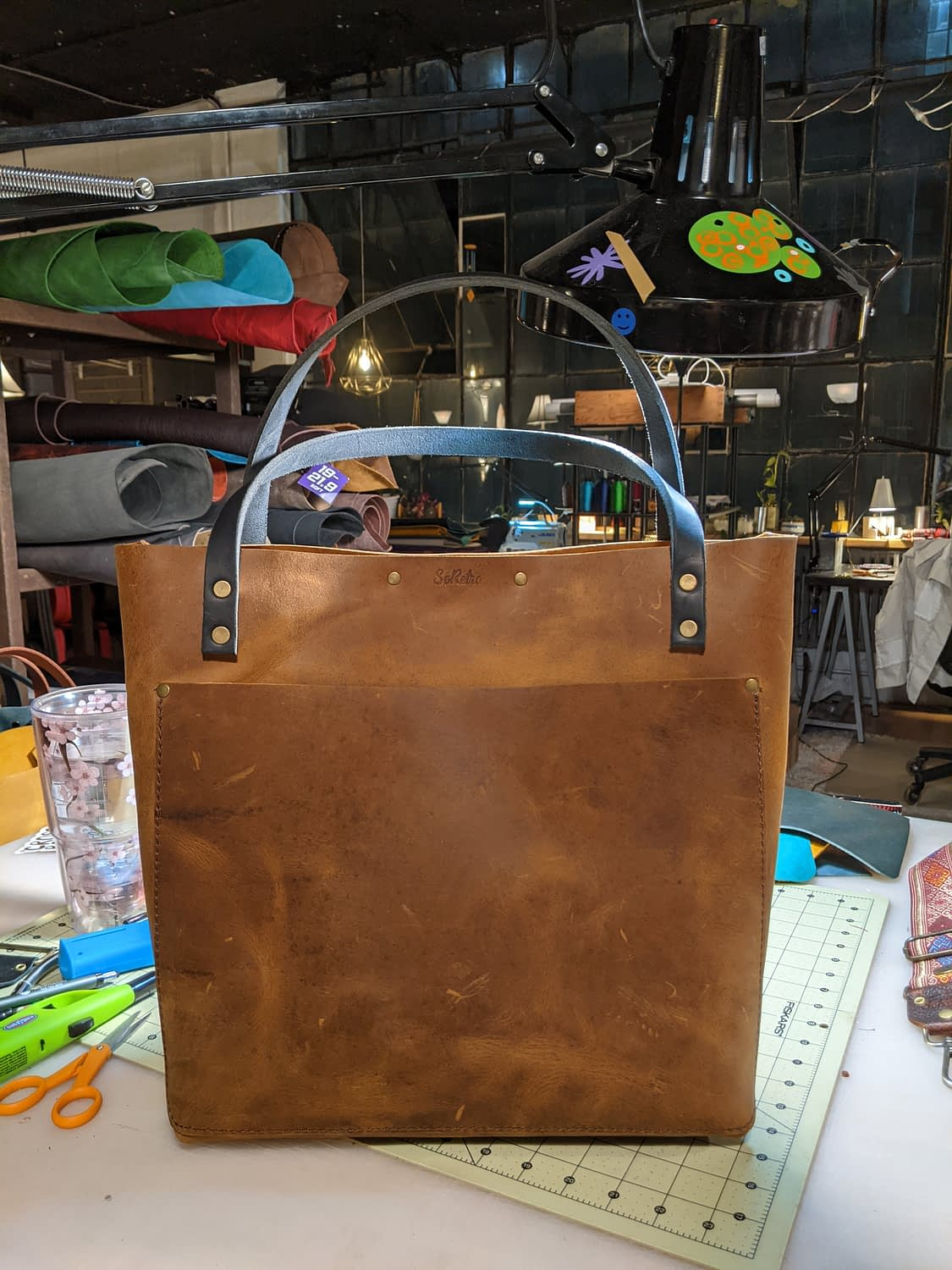 SUNDAY BYGGIE BRUNCH - SoRetro BYG FYG Leather Crossbody Tote – Mystery Neutral Color with Mystery Strap - First Edition