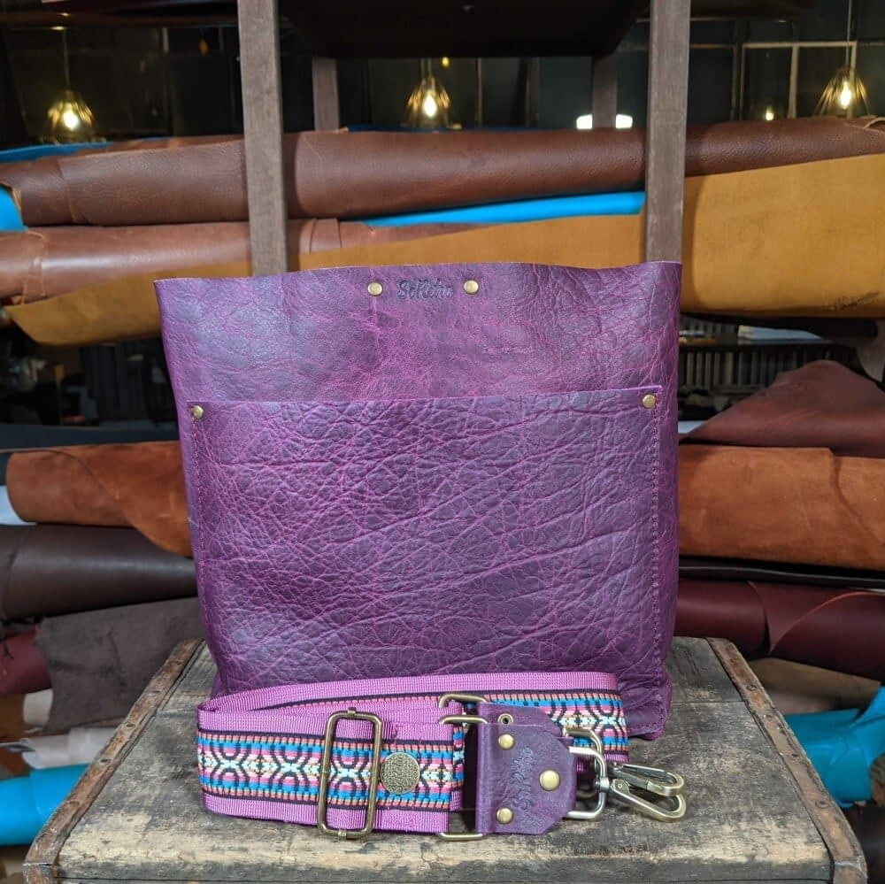 SoRetro FYG Leather Crossbody Tote - Crushed Berries with Summerland on Fuschia