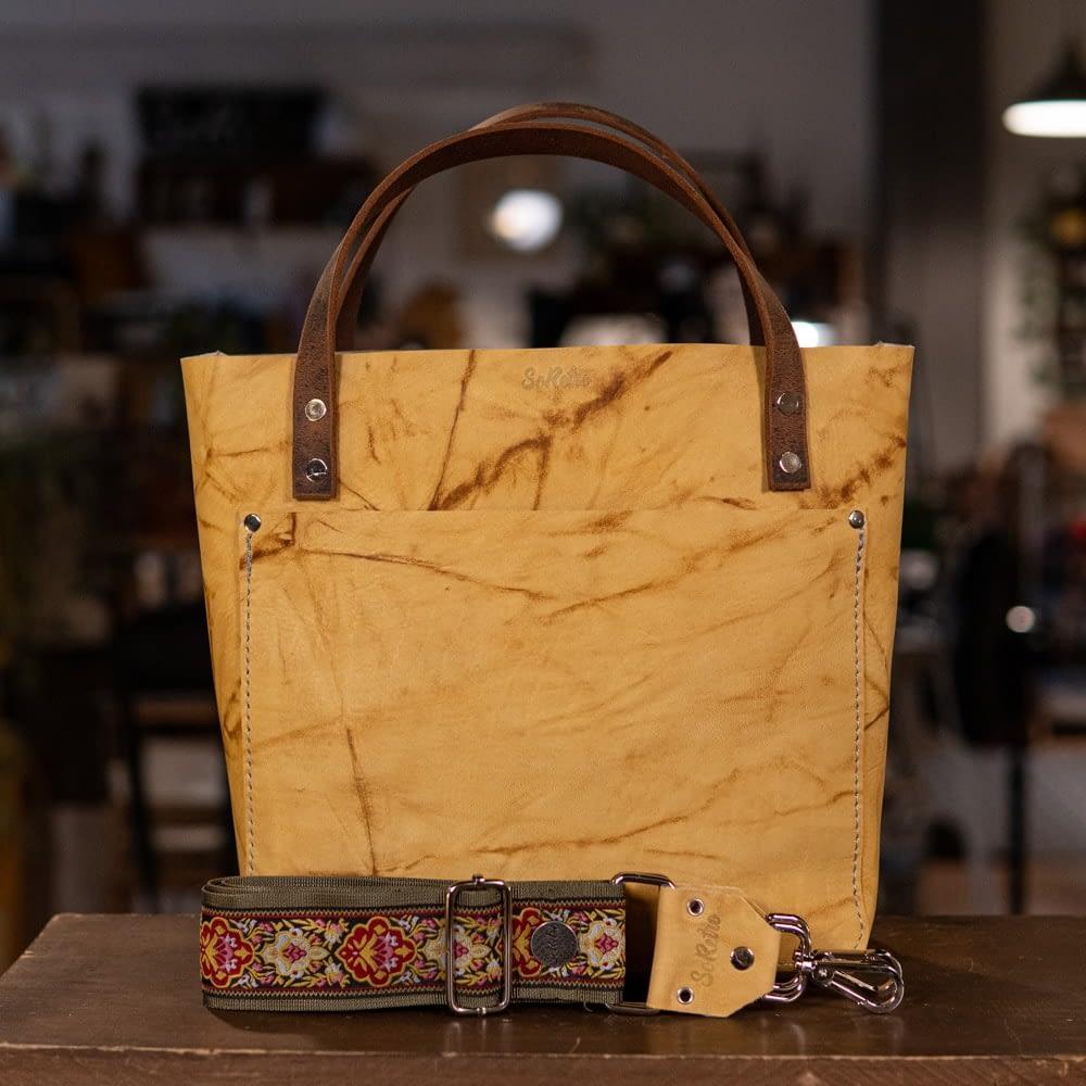 SoRetro Perfect FYG Leather Crossbody Tote – Bananarama with Modern Carmine on Olive Webbing – Silver Hardware