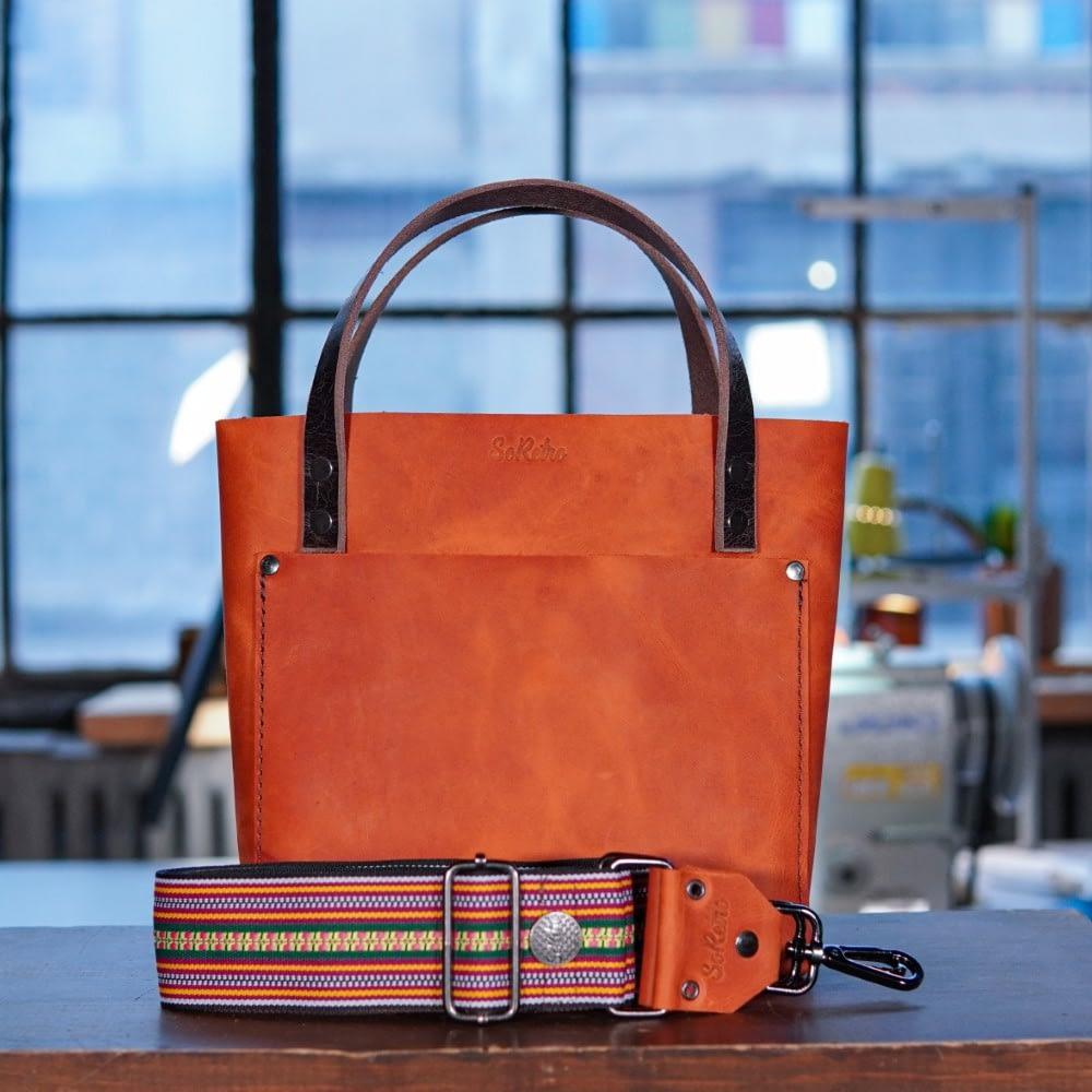 SoRetro Mini FYG Leather Crossbody Tote - Orange Nebula with Victory Lane on Chocolate Brown Webbing - Gunmetal Hardware