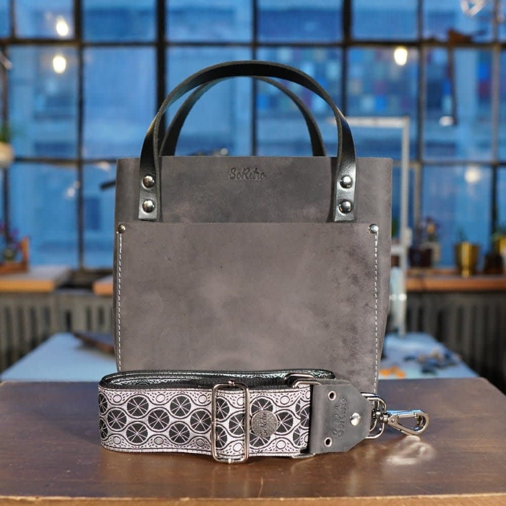 SoRetro Mini FYG Leather Crossbody Tote - Weathered Slate with Monochrome Lily Pads on Black Webbing - Silver Hardware