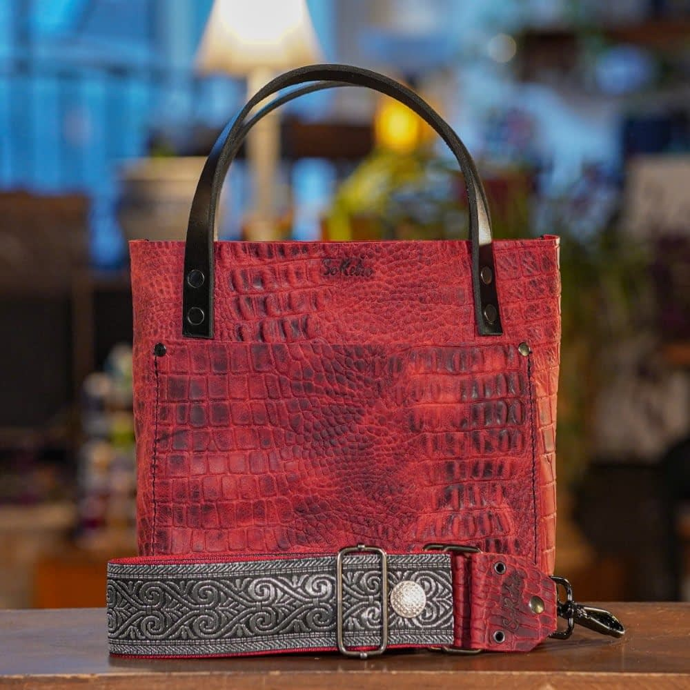 SoRetro Mini FYG Leather Crossbody Tote - Pimps Don't Cry in Red with Mercury Bay on Dark Red Webbing - Gunmetal Hardware