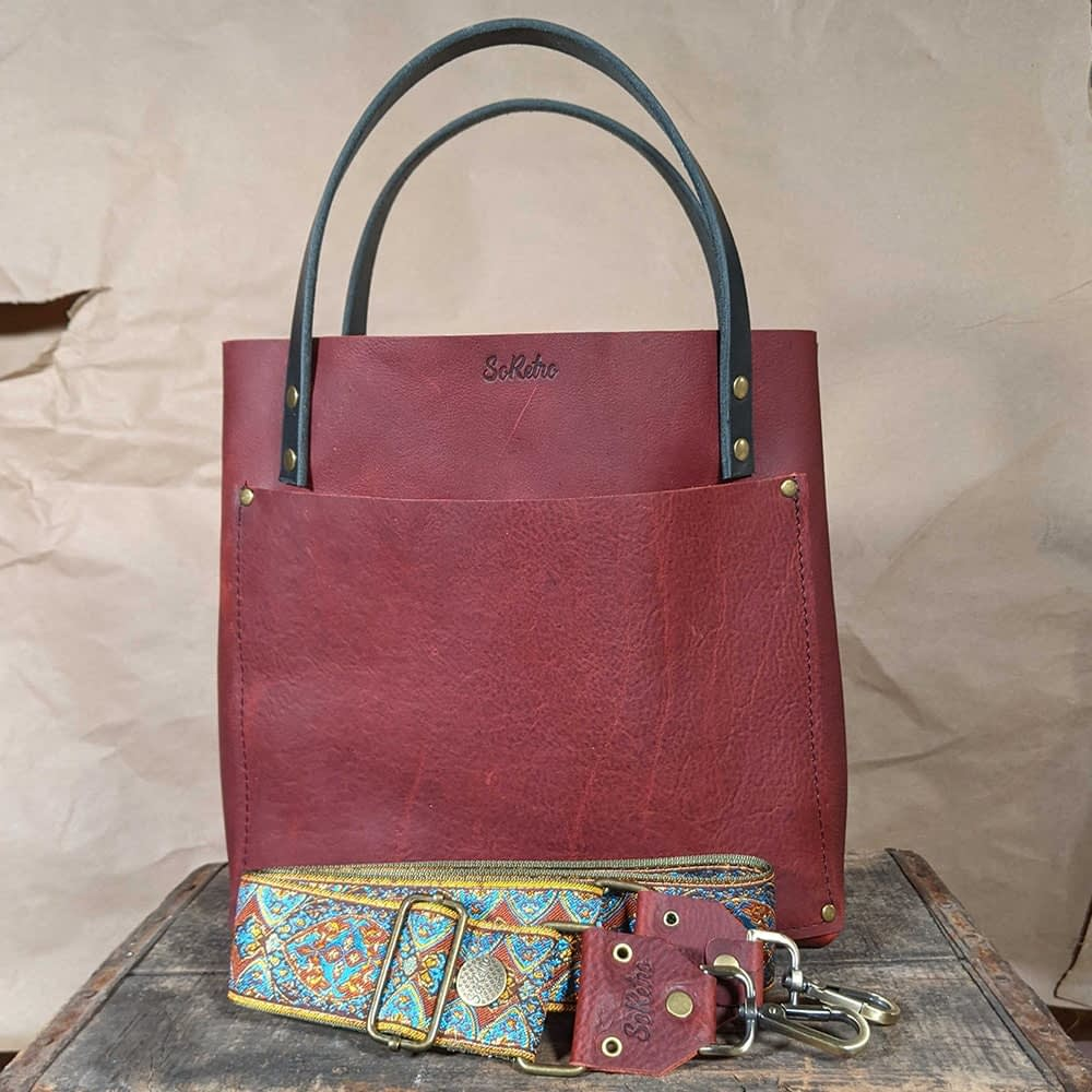SoRetro FYG Leather Crossbody Tote - Raspberry with Crimson Canyon on Olive