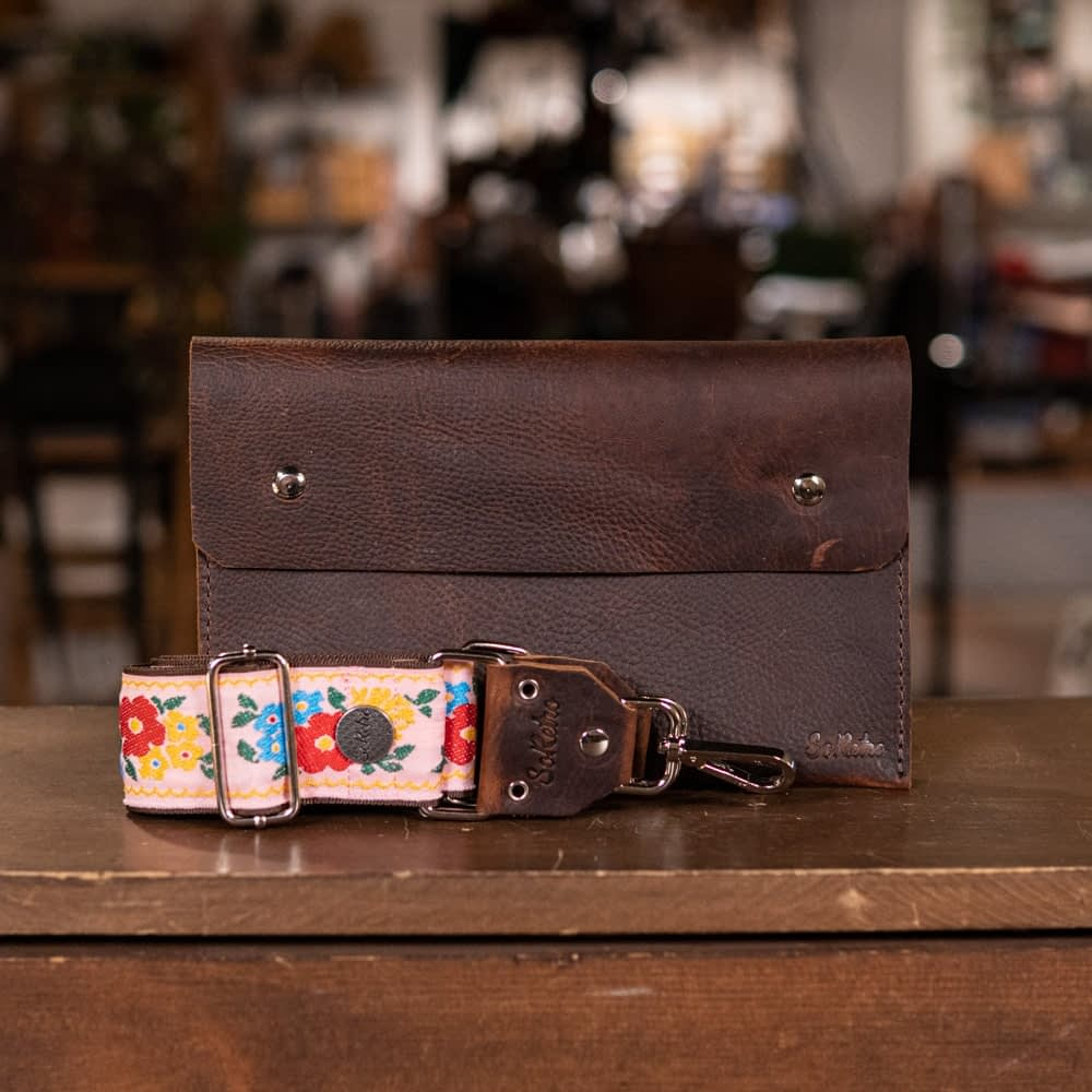 SoRetro FYG Hip Pack - Hottt Chocolate with Poppies on Pink on Chocolate Brown Webbing - Silver Hardware
