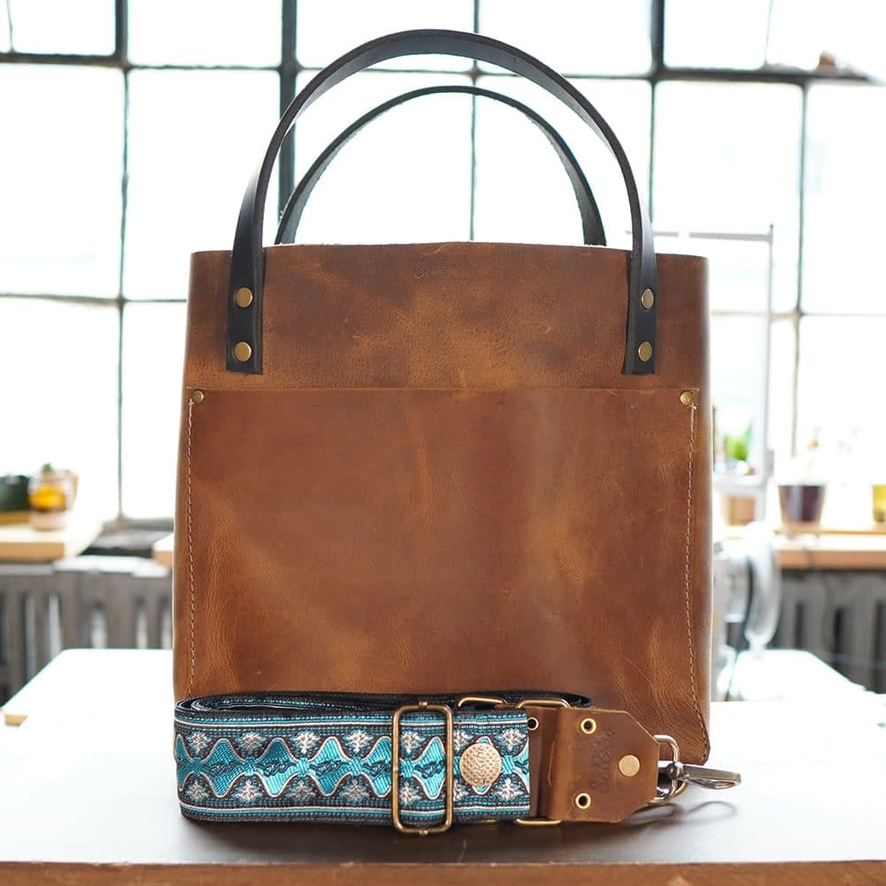 SoRetro FYG Leather Crossbody Tote - S'mores with Blue Water Beach on Black Webbing - Bronze Hardware