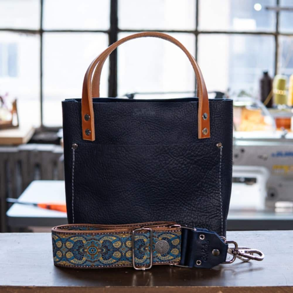 SoRetro Mini FYG Leather Crossbody Tote - Man Bloobs with Bloob Glarus Woods on Copper Webbing - Silver Hardware