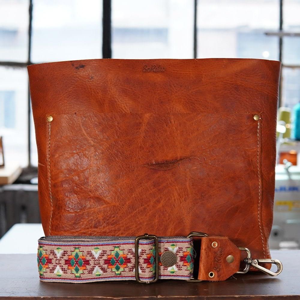 SoRetro Original FYG Leather Crossbody Tote – Orange Marmalade with San Rafael on Mocha Webbing – Bronze Hardware - Handleless
