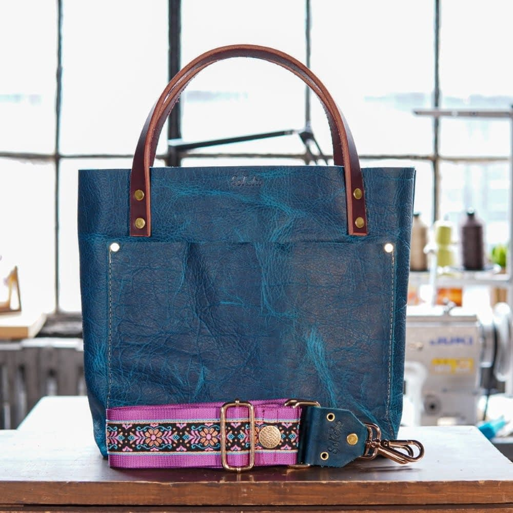 SoRetro Original FYG Leather Crossbody Tote – Michigan Abyss with Sweet Pea on Fuchsia Webbing – Shiny Gold Hardware