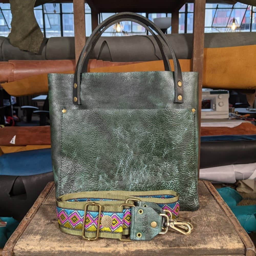 SoRetro FYG Leather Crossbody Tote - Lake Leelanau Mermaid with Diamond Deluxe on Olive - Silver Hardware
