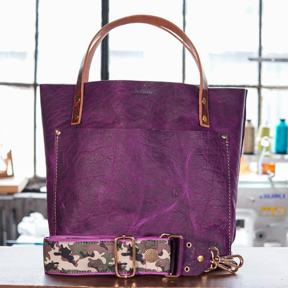 SoRetro Original FYG Leather Crossbody Tote – Crushed Berries with Camo Soldier on Fuchsia Webbing – Shiny Gold Hardware