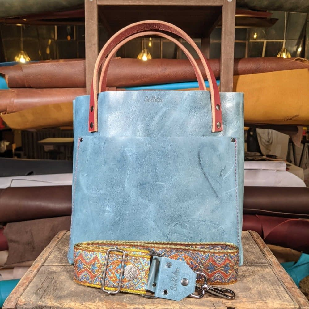 SoRetro FYG Leather Crossbody Tote - Blast Off Blue with Crimson Canyon on Olive
