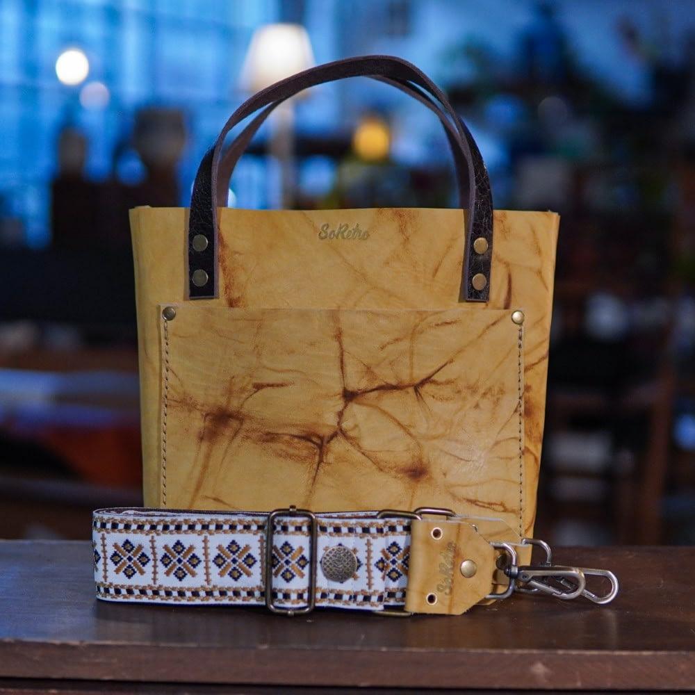 SoRetro Mini FYG Leather Crossbody Tote - Bananarama with The Queen's Gambit on Chocolate Brown Webbing - Bronze Hardware