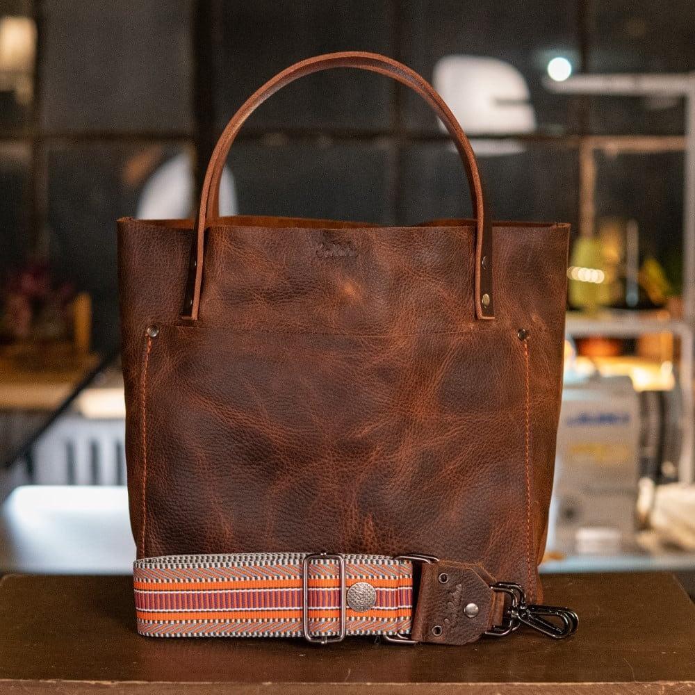 SoRetro Original FYG Leather Crossbody Tote – Tubbs with Florida Overseas Railway – Gunmetal Hardware