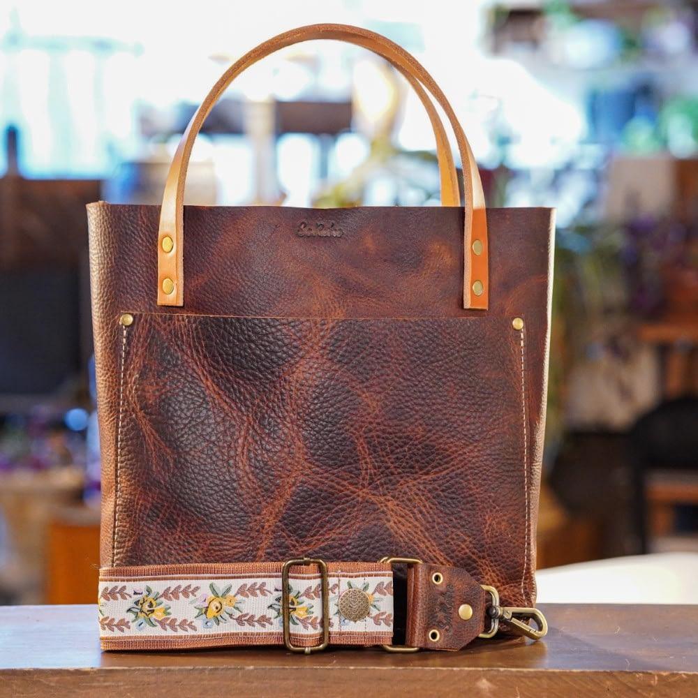 SoRetro Original FYG Leather Crossbody Tote – Hottt Chocolate with Marygrove on Copper Webbing – Bronze Hardware