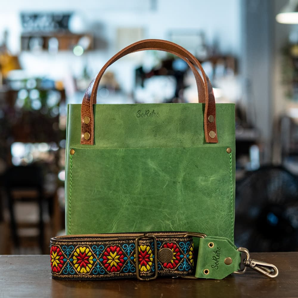 SoRetro Mini FYG Leather Crossbody Tote - Why Is My Pool Green with Prima Flora on Gold Webbing - Bronze Hardware