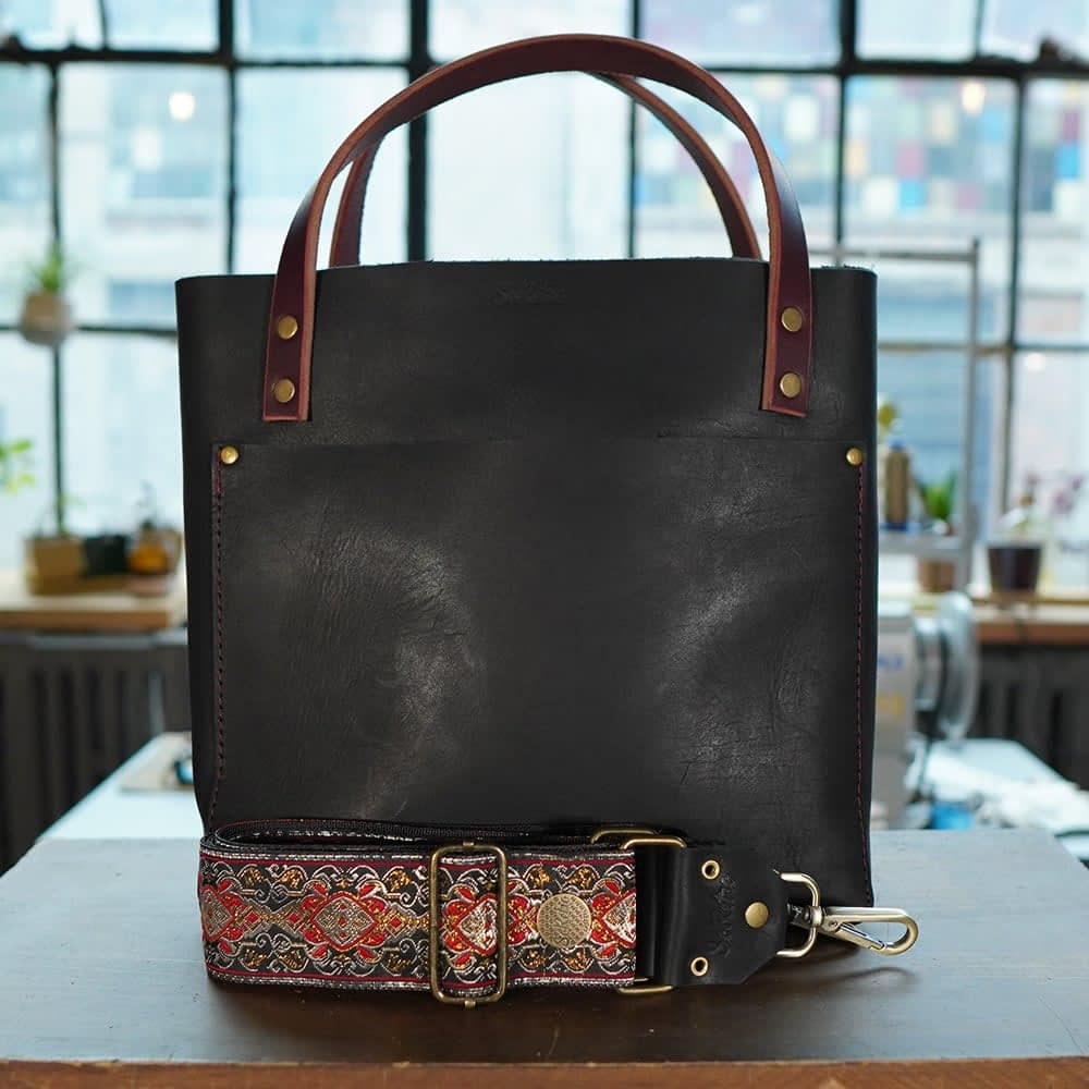 SoRetro FYG Leather Crossbody Tote - Black Matte with Ruby Falls on Black Webbing - Bronze Hardware