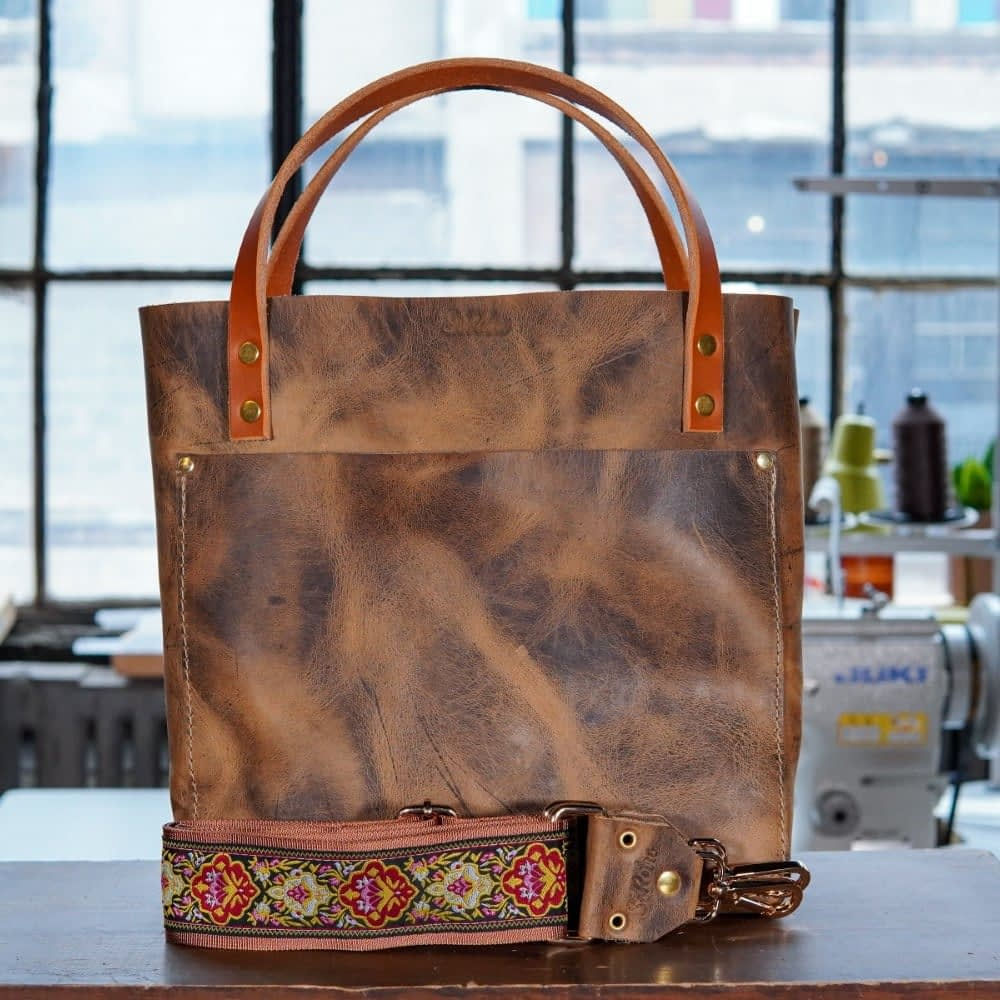 SoRetro Original FYG Leather Crossbody Tote – Distressed Canyon with Modern Carmine on Copper Webbing – Shiny Gold Hardware