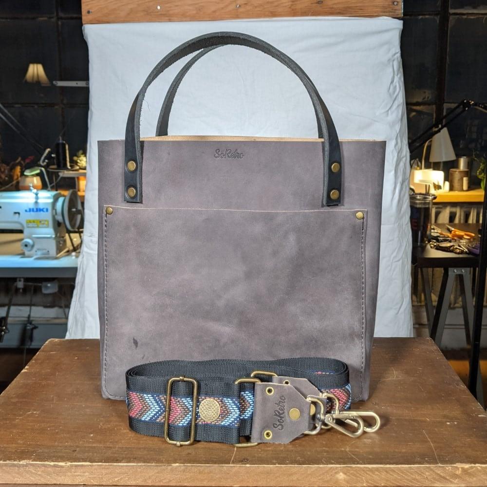 SoRetro FYG Leather Crossbody Tote - Graphite Gray with Pink Navy Mocha Chevron on Black Webbing - Bronze hardware