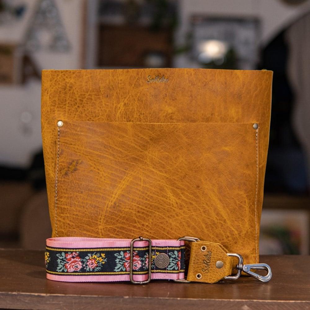 SoRetro Original FYG Leather Crossbody Tote – Crusty Mustard with Grandma's Twitchy Flowers on Pale Pink Webbing - Bronze Hardware - Handleless