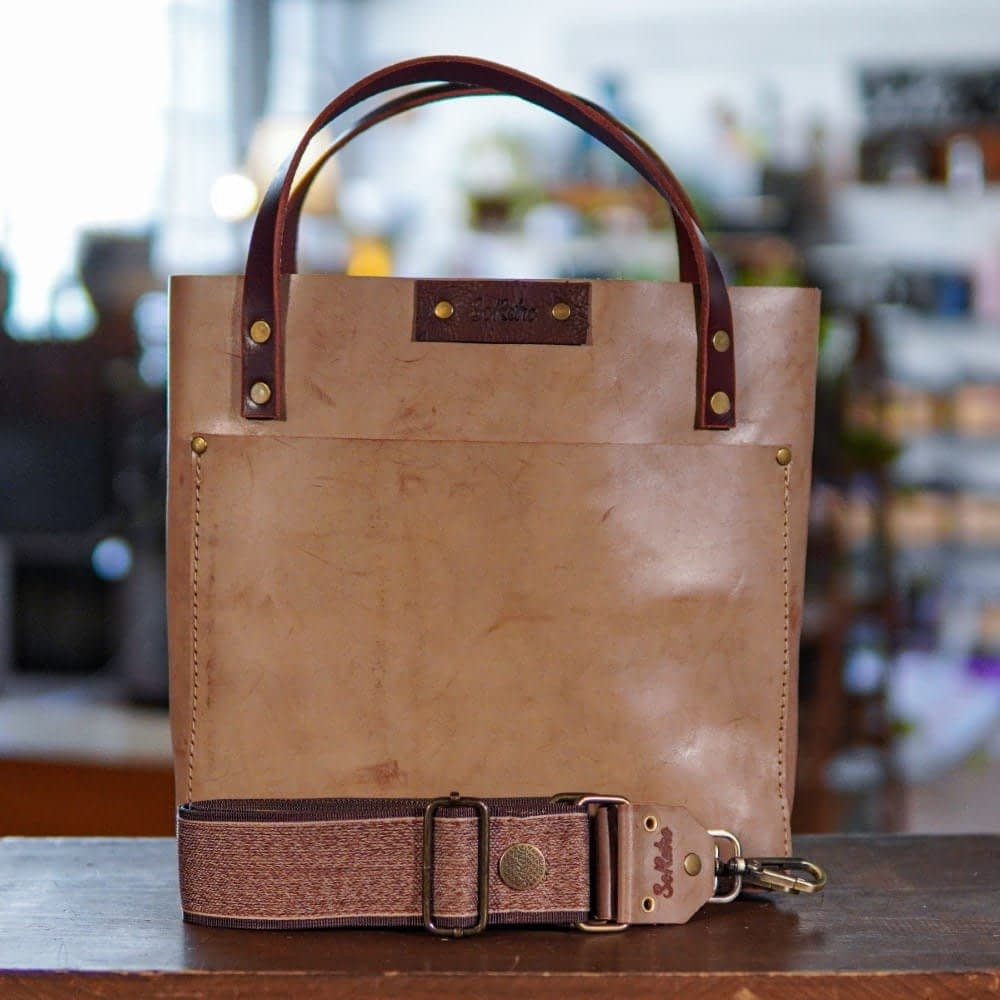 SoRetro Original FYG Leather Crossbody Tote - Leche Con Cafe with Tigertail on Chocolate Brown Webbing – Antique Bronze Hardware