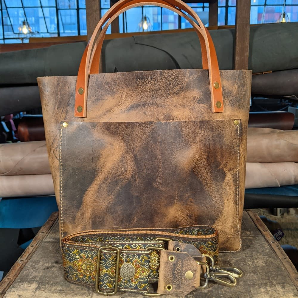 SoRetro FYG Leather Crossbody Tote - Distressed Canyon with Milagra Ridge on Copper Webbing - Bronze Hardware