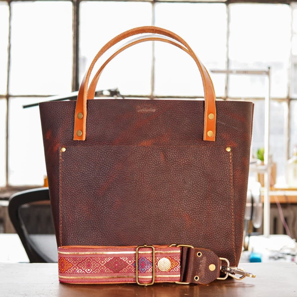 SoRetro Original FYG Leather Crossbody Tote – Chocolate Covered Cherries with The Majestic on Burnt Orange Webbing – Bronze Hardware - Branded