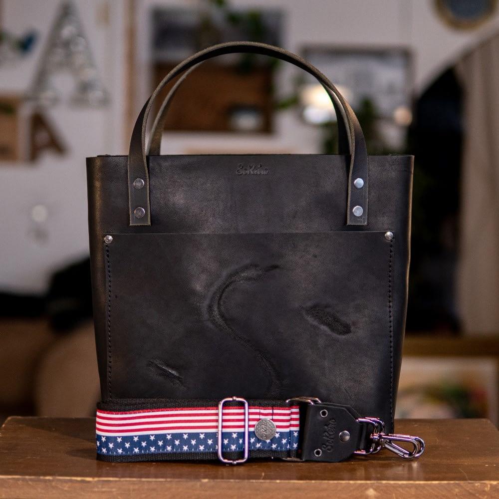 SoRetro Original FYG Leather Crossbody Tote – Branded Storm Stealth Black with Stars and Stripes on Black Cotton Webbing – Gunmetal Hardware