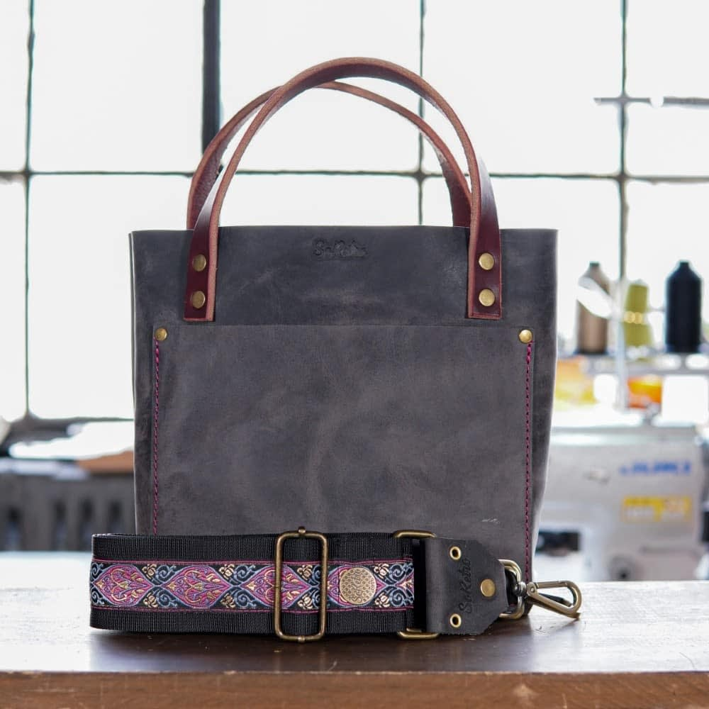 SoRetro Mini FYG Leather Crossbody Tote - Weathered Slate with Virginia Park in Pink on Black Webbing - Bronze Hardware