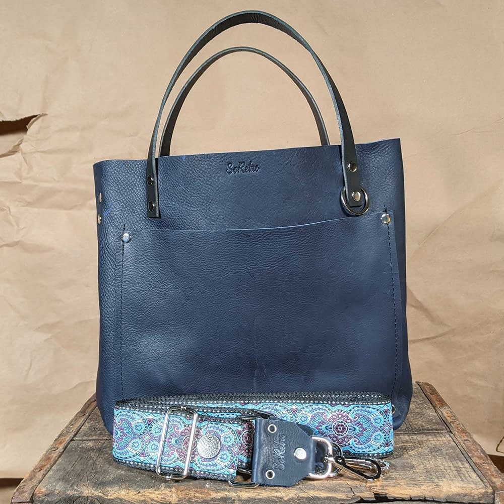 SoRetro FYG Leather Crossbody Tote - Blueberry with Glenlore Trails on Navy