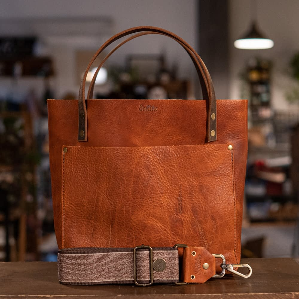 SoRetro Perfect FYG Leather Crossbody Tote – Orange Marmalade with Tigertail on Chocolate Brown Webbing – Bronze Hardware