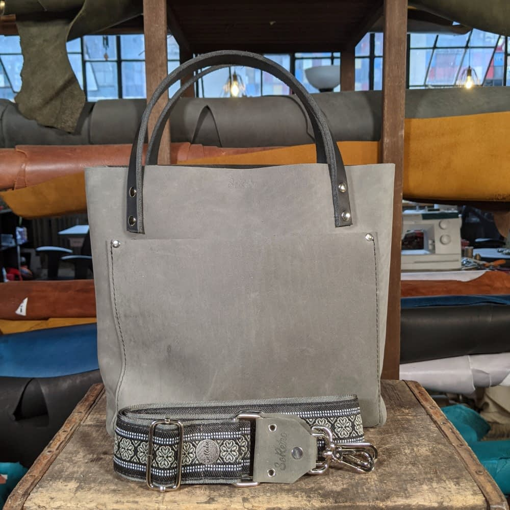 SoRetro FYG Leather Crossbody Tote - Stingray Gray with Norwood on Gray - Silver Hardware