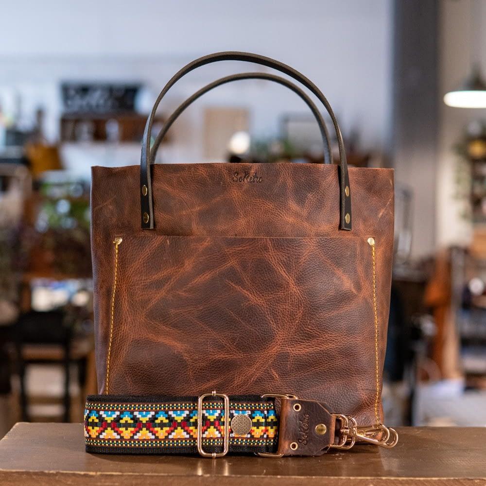 SoRetro Original FYG Leather Crossbody Tote – Hottt Chocolate with Mayan Rainbow on Black Cotton Webbing – Shiny Gold Hardware