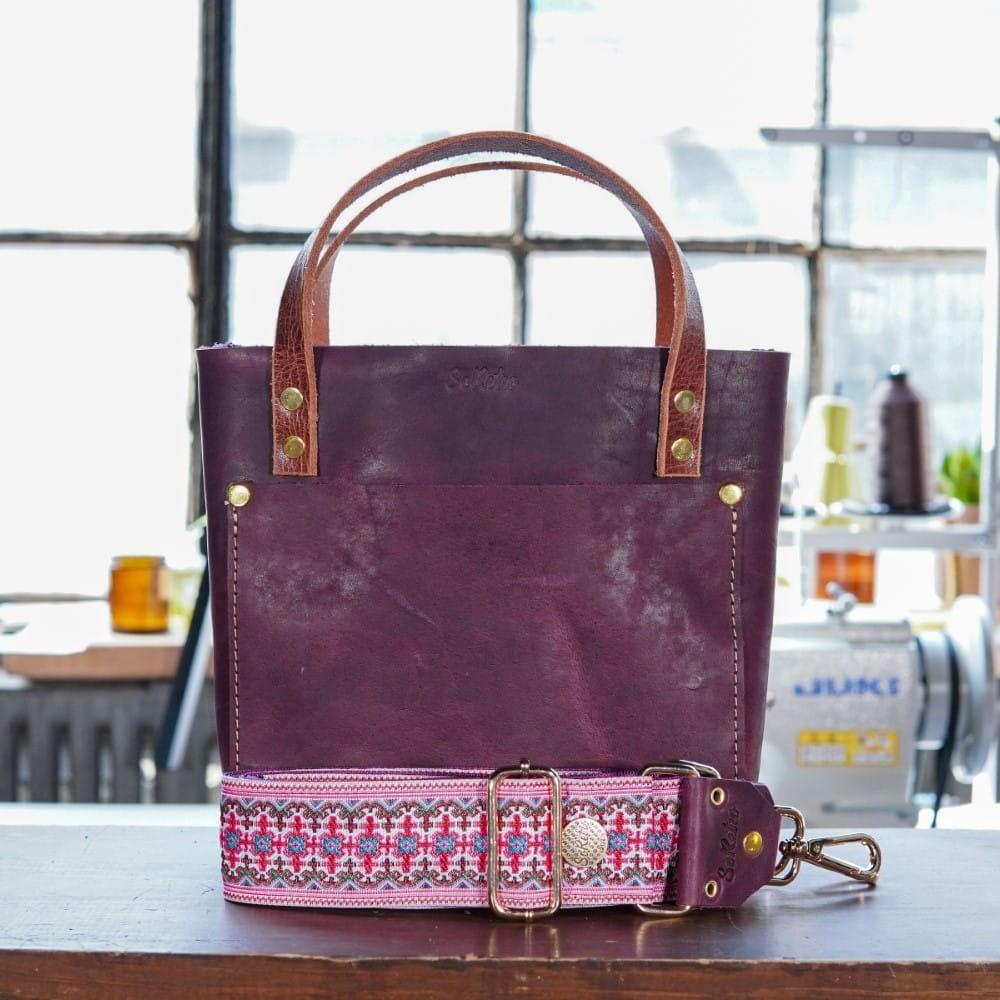 SoRetro Mini FYG Leather Crossbody Tote - Purple Cowgirl with Secret Garden on Fuchsia Webbing - Shiny Gold Hardware