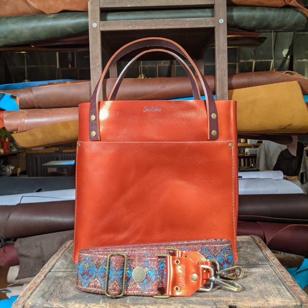 SoRetro FYG Leather Crossbody Tote - Copper Harbor with Detroit Gypsy on Chocolate Brown Cotton