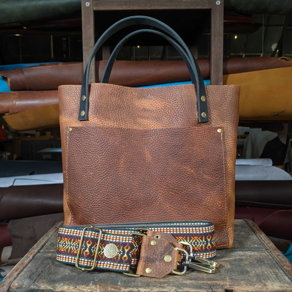 SoRetro FYG Leather Crossbody Tote - Touchdown Brown with McKinley on Mocha