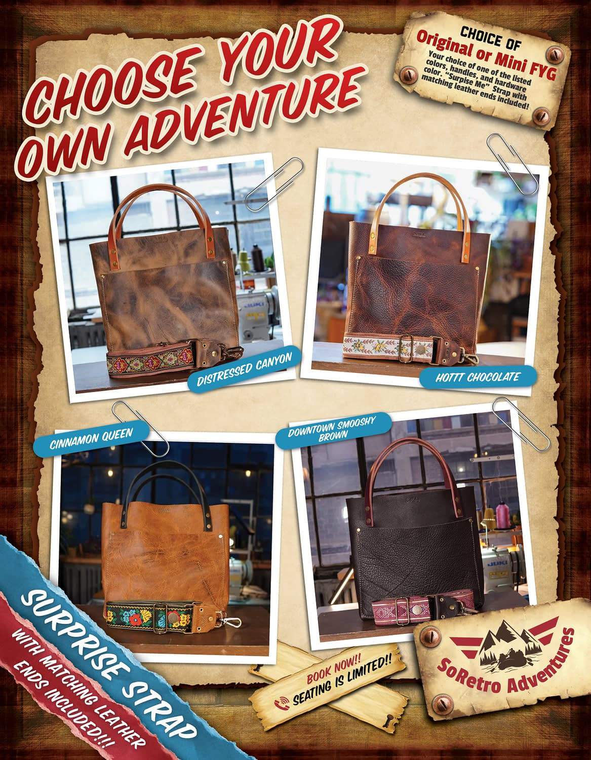 SoRetro FYG Leather Crossbody Tote – Choose Your Own Adventure!!