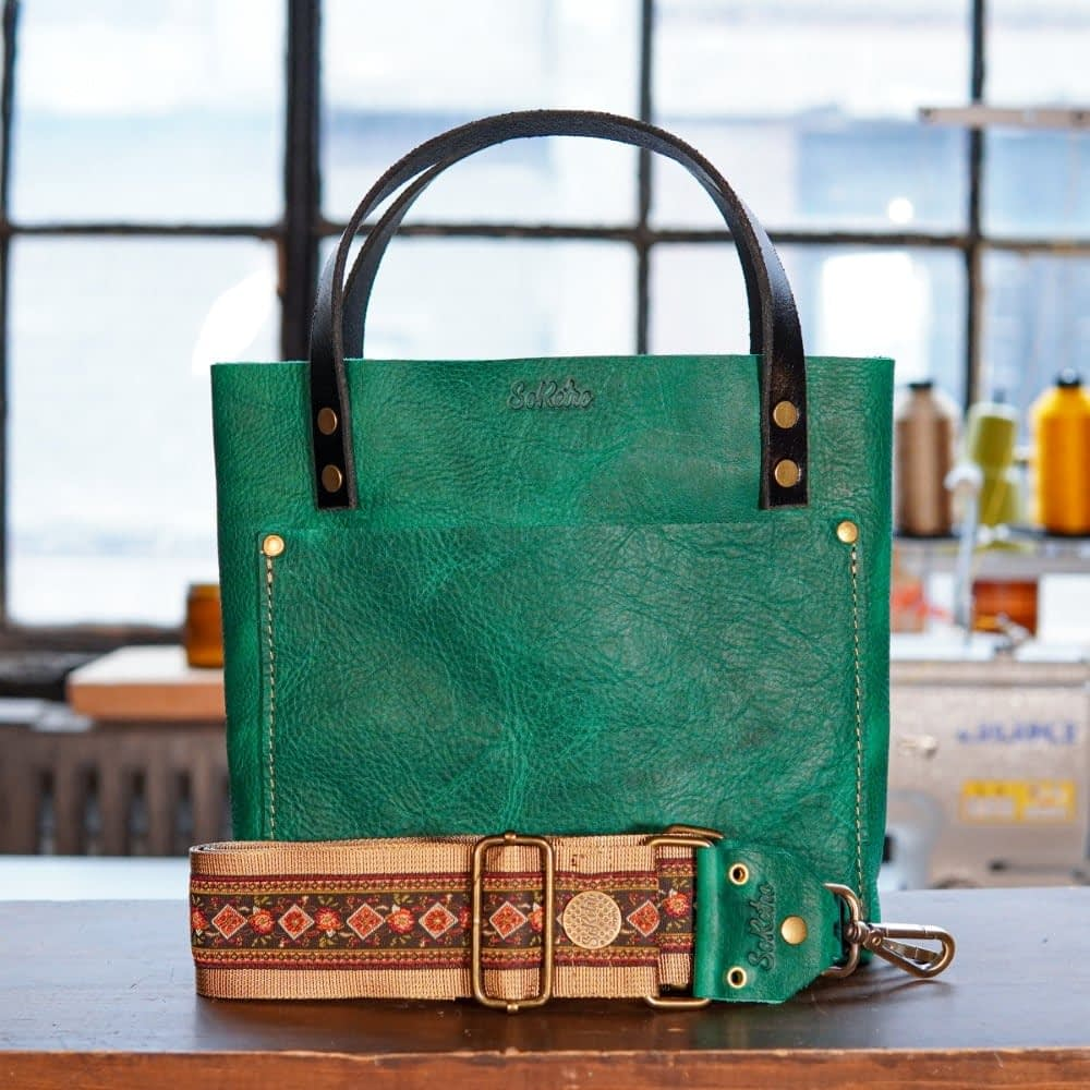 SoRetro Mini FYG Leather Crossbody Tote - Green Turtle Cay with Eloise Flowers on Gold Webbing - Bronze Hardware