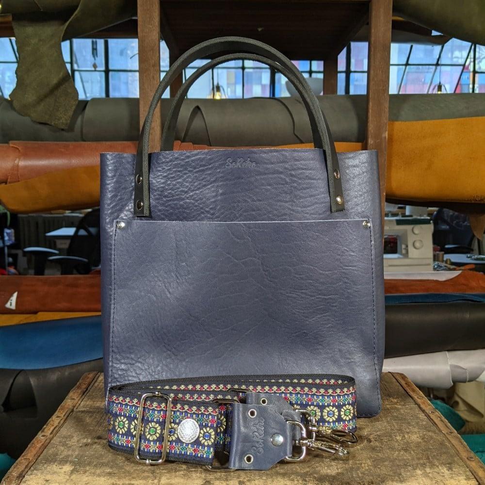 SoRetro FYG Leather Crossbody Tote - Deep Space Blue with Gemstone Royale on Black Webbing - Silver Hardware