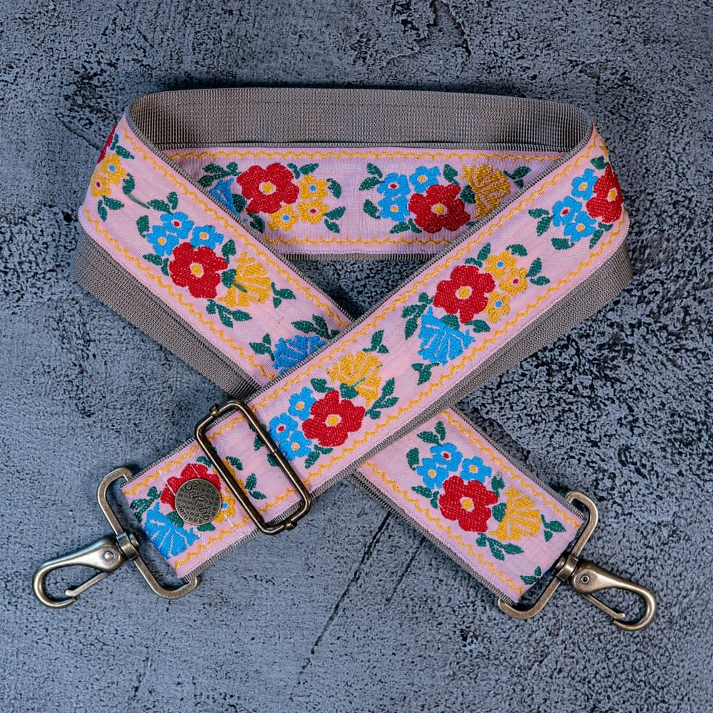 Poppies on Pink - Leather Free Bag or Camera Strap