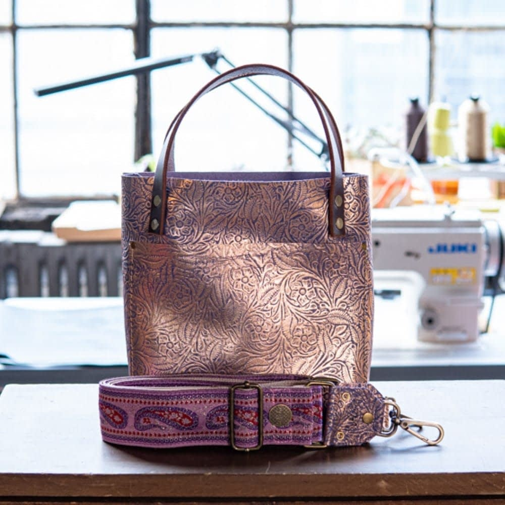 SoRetro Mini FYG Leather Crossbody Tote - Wisteria Fairytale with Pink and Purple Paisleys on Champagne Webbing - Bronze Hardware
