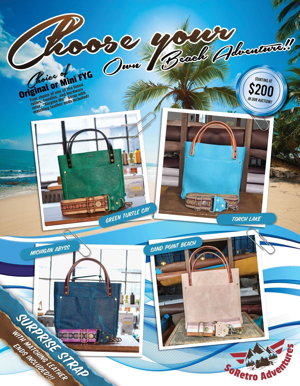 SoRetro FYG Leather Crossbody Tote – Choose Your Own Beach Adventure!!