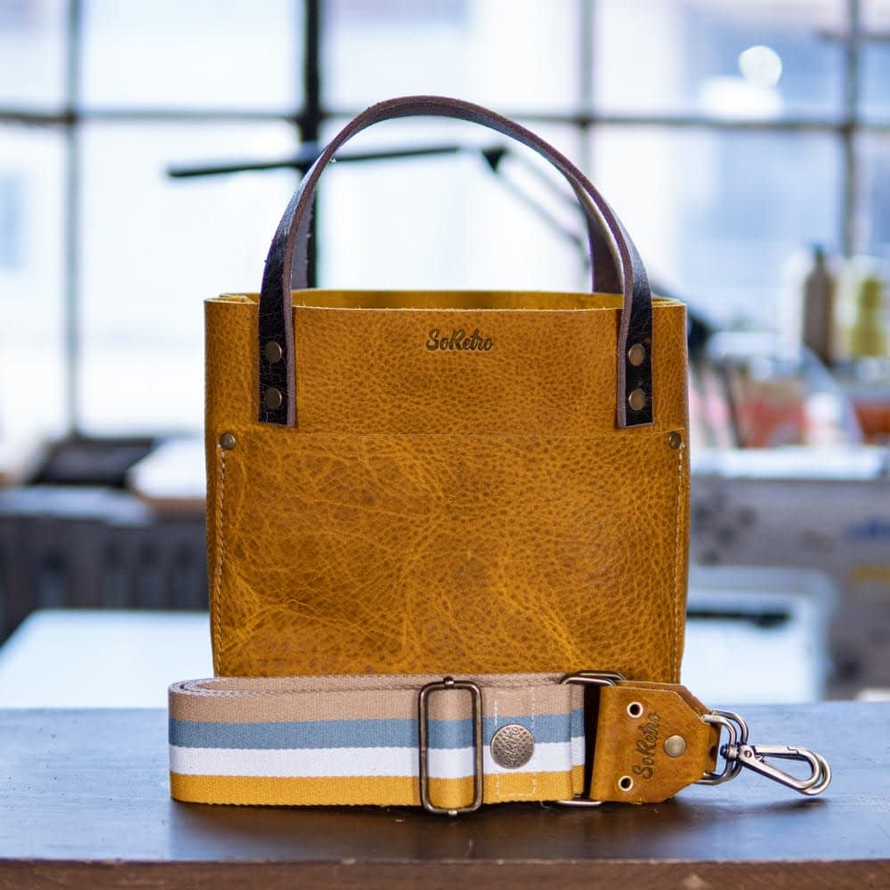 SoRetro Mini FYG Leather Crossbody Tote - Crusty Mustard with Key Largo Stripes - Bronze Hardware