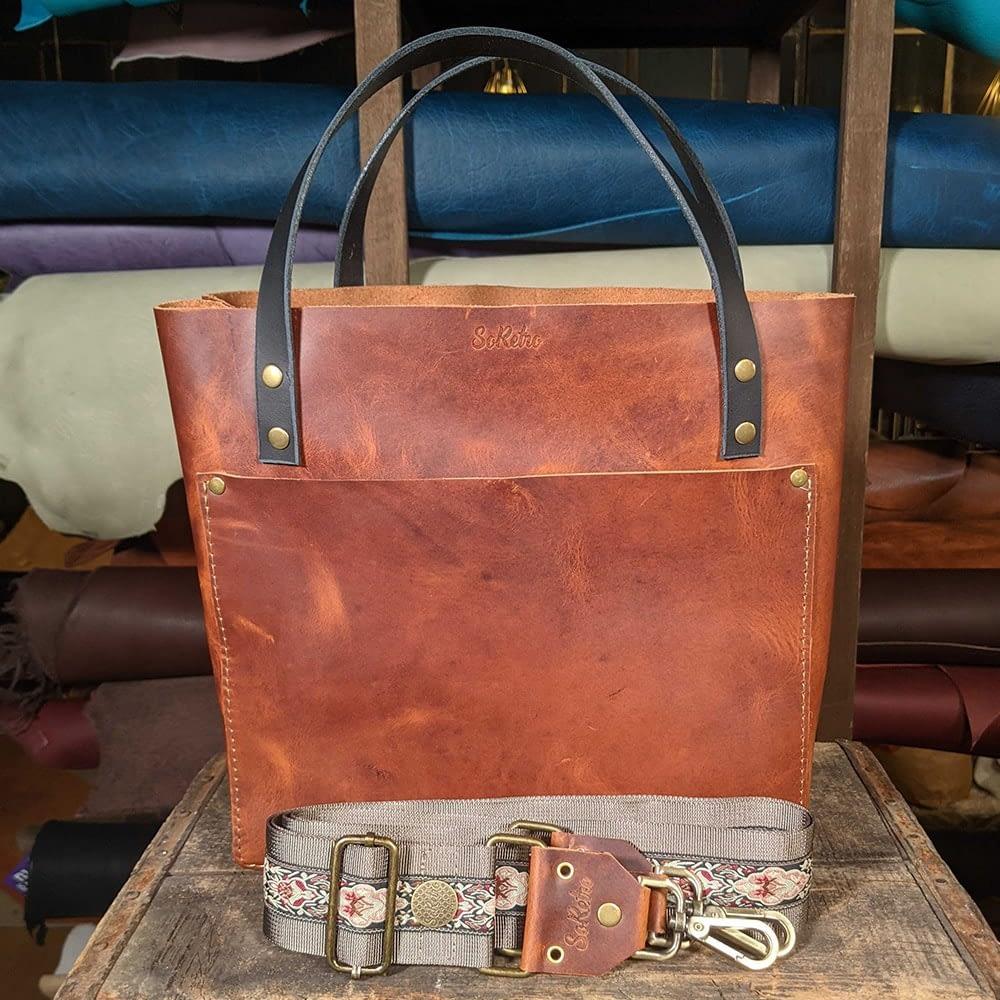 SoRetro FYG Leather Crossbody Tote - Baroda Bourbon with Vintage Carmine on Mocha