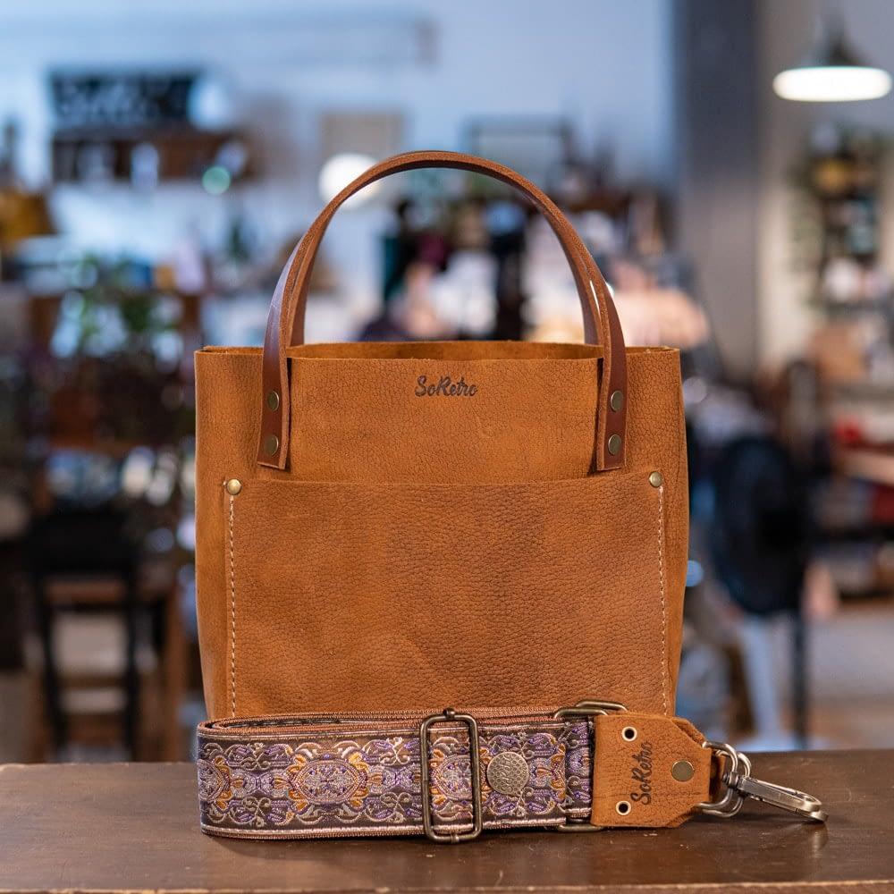 SoRetro Mini FYG Leather Crossbody Tote - Floppy Cowboy with San Simeon on Copper Webbing - Bronze Hardware