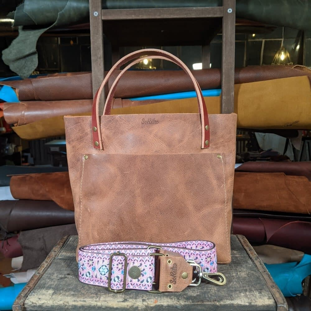 SoRetro FYG Leather Crossbody Tote - Graham Crackers with Eden Gardens on Chocolate Brown