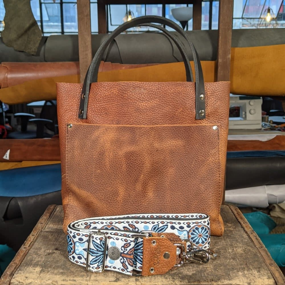 SoRetro FYG Leather Crossbody Tote - Touchdown Brown with Sequoia Springs on Black Webbing  - Silver Hardware