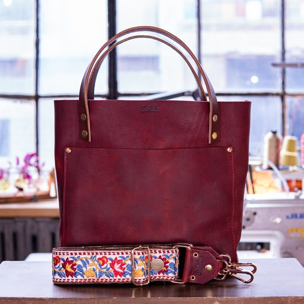 SoRetro Original FYG Leather Crossbody Tote – Bloobarb with Oaxaca Flowers in Wine on Chocolate Brown Webbing – Shiny Gold Hardware